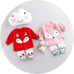 Roupa aberta da virilha on-line-Meninas Fox Shirt Calças Terno Abriu Crotch Fox Dos Desenhos Animados Manga Longa Crianças Conjuntos de Roupas Primavera Outono 3-24 M
