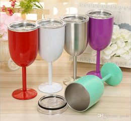 Wholesale Green Glass Goblets - DHL Free shipping 10oz Wine Glasses Vacuum Stainless Steel Cocktail Glass Wine Goblet Glass with Lid for Daily Camping & Picnics Green