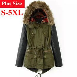 Wholesale Leather Sleeves Woman Parka - Winter Jacket Women 2017 Parka Plus Size Cotton Padded Coat Fur Hooded Outwear PU Leather Sleeve Winter Coat Women