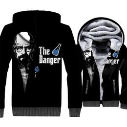 heisenberg hoodie UK - Breaking Bad Jacket Heisenberg Hoodie Men The Danger Sweatshirt Winter Thick Fleece Warm Zipper Coat Black 3D Print Streetwear