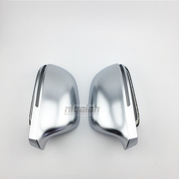 Wholesale Audi A4 Chrome - B8 ABS Matt Chrome Car Side Mirror Covers Silver Mirror Caps For Audi A3 Q3 A4 A5 A6 A8 with Lane Assist
