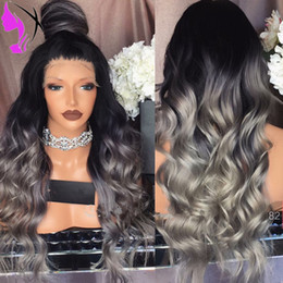 Wholesale Dark Brown Hair Fiber - Women Hair Style 1B Ombre Gray Heat Resistant Fiber Body Wave Grey \180density Synthetic Lace Front Wig natural hairline