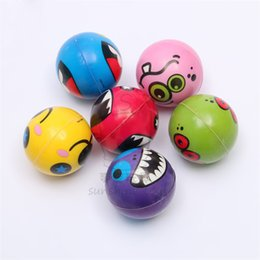 Wholesale Funny Exercise - 6.3cm Hand Wrist Exercise PU Rubber Toy Balls Funny Face Print Sponge Foam Ball Squeeze Stress Ball Relief Toy Kids Toys LA702
