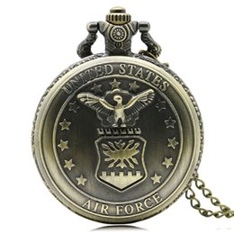 Wholesale Pattern Carving - Cool Carving United States Air Force Eagle with Stars Pattern Pocket Watches for Men Women Pendant Slim Chain Clock