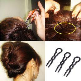 estilos de coque de cabelo preto Desconto Moda Mulheres Hair Bun Criador Updo U Estilo Ferramenta Ondulado Grampos de Cabelo Grampos de Cabelo Acessórios Preto Marrom