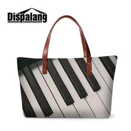 Wholesale Neoprene Handles - Women's Casual Tote Bag Neoprene Top Quality Top-Handle Bags For Girls Musical Note Pattern Ladies Handbags Woman Handbag Tote Drop Shipping