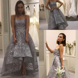 Wholesale Sexy Strapless Cocktail Dresses - 2018 Silver Sequined Lace High Low Prom Party Dresses Strapless Formal Cocktail Dress Formal Evening Gowns