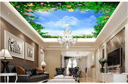 Murales blu fiore online-Vendita al dettaglio 3D Blue Sky Flowers e fiori delicati Zenith Murals