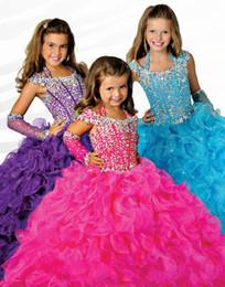gli abiti di sfera di lunghezza dei capretti Sconti Ritzee Girls Beads Halter Girls Pageant Abiti Little Girl Ball Gown Big Kids Full Length Cap Sleeve Custom Made Flower Girl Dress 2019