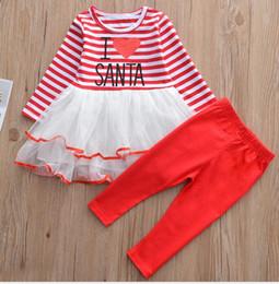 Maglia della maglietta all'ingrosso online-Tuta di Natale Stripe Provision Set Filo netto di bambine Abbigliamento per bambini all'ingrosso T-shirt 2 pezzi + Set di abiti a pantalone
