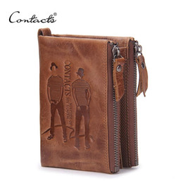 Wholesale Vintage Mens Leather Coin Purse - CONTACT'S Men Wallets Top Genuine Cow Leather Vintage Design Purse Men Brand Famous Card holder Mens Wallet carteira masculina