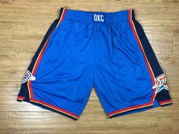 Wholesale Oklahoma City - 2017-2018 New Season Oklahoma City Cheap Men Breathable Sweatpants Outdoors Basketball Shorts Sportswear Embroidered Sports Blue Pants