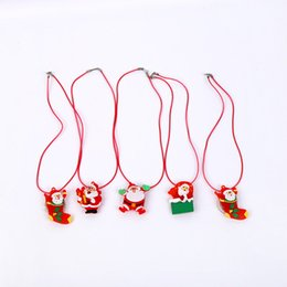 Wholesale Lighted Xmas Necklaces - New Children Kids LED Light Up Flashing Blinking Christmas Necklace Pendants Xmas Dress Decor Glow Party Supplies CCA8111