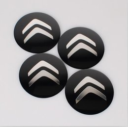 Wholesale Sticker Citroen - 4pcs set 56.5mm Citroen Check Car Styling Aluminum alloy Center Wheel Cover Labeling Emblem Car Sticker Badge fit for Citroen