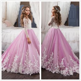 Wholesale Pink Parties - New Lace Long Sleeves A Line Flower Girls Dresses Jewel Neck Bow Sash Tulle Applique Party Princess Kids Party Birthday Gowns BA2194