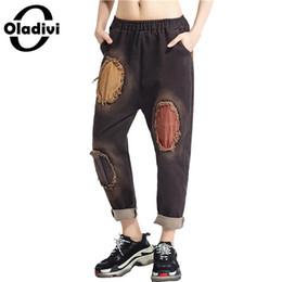 pantalones de mujer de marca Rebajas Oladivi Marca Mujer Ropa Casual Ladies Jeans Mujer Destruido Agujero Denim Pant Pantalones Capris Chica Pantalones Harem Pant