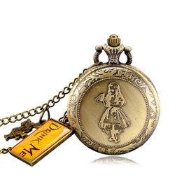 Wholesale Pocket Watch Alice - Bronze Antique Style Pocket Watch Alice in Wonderland Cute Rabbit & Alice Drink Me Women Pendant Necklace With Chain Xmas Gift