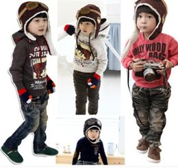 Wholesale Wholesale Kids Aviator Hats - High quality Fashion StyleNew Cute Baby Toddler Boy Girl Kids Pilot Aviator Cap Warm Hats Earflap Beanie