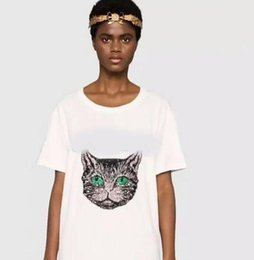 Wholesale top pussy - Summer Women sequins Tshirt Short Sleeve Female Tee Tshirt embroidery Pussy head t-shirt harajuk Tops Casual paris