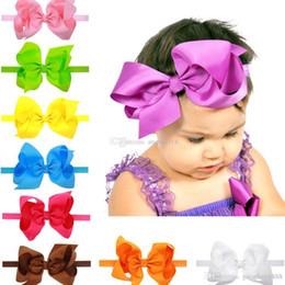 Pollice della fascia online-16 colori Neonate Stretch Bow Fasce Infantile grande fascia per capelli arco carino Accessori per capelli 6 pollici C1743