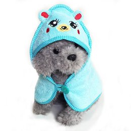 Wholesale mini hoodies - Fashion Pet Dog Pajamas Cotton Hoodie Bathrobe Cute Cartoon Animals Bath Towel Puppy Cat Blanket Bath Clothes Products For Dogs
