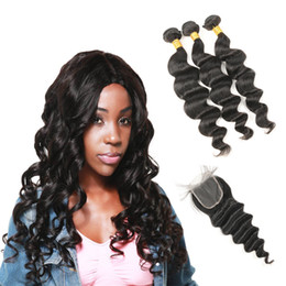 Indien lâche vague 3 Bundles avec dentelle frontale fermeture Bundles de cheveux avec fermeture Virgin Hair Weave Non Remy cheveux 4pcs / lot ? partir de fabricateur