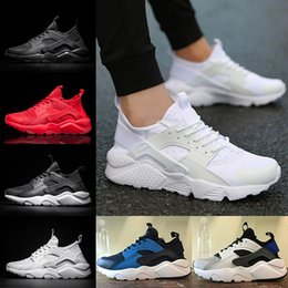 Wholesale White Flat Boots Cheap - 2018 Classical Air Huarache 4 Running shoes Huaraches 1 Men Women Sneakers Ultra Triple Black White Red Breathable Mesh cheap size 36-45
