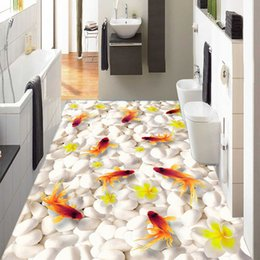 Wholesale Modern Swimming - Wholesale-Custom 3D Floor Mural Wallpaper Swimming Goldfish PVC Self-adhesive Waterproof Living Room Bathroom 3D Flooring Papel De Parede
