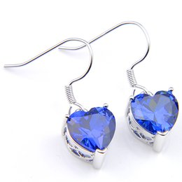 mystic topaz dangle earrings Coupons - 10 Prs Luckyshine Classic Dazzling Fire Heart Mystic Swiss Blue Topaz Cubic Zirconia Gemstone Silver Dangle Earrings Holiday Wedding Party
