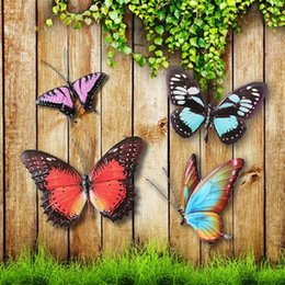 Wholesale Art Wall Plaque - Metal Colourful Butterflies Wall Art Garden Fence Home Ornament Decorations Background Home Decor Sculpture Plaque Pastoral