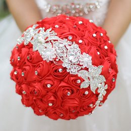 Wholesale Diamond Roses Silk - New Red Bridal Bouquet Silk Bride Bridal Wedding Bouquet Bridesmaid Red Fabric Rose, Customizable Diamond Bouquet, Handmade