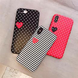 Iphone point blanc en Ligne-Nouveau Designer Rayé Dot Motif Amour Motif Téléphone Cas Couverture De Mode pour IPhone XS MAX XR XS 7PLUS 8 PLUS 7 8 6 P 6SP 6 6 S Noir Rouge Blanc Cas