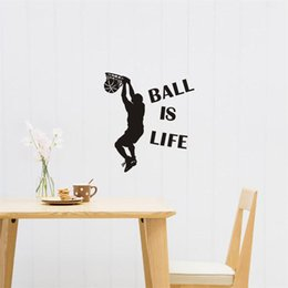 Wholesale sports wall mural wallpaper - 1PCS Removable Ball Is Life Wall Sticker Sport Playing Basketball Wallpaper For Kids Rooms Mural Decor Decal 25x60cm