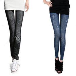 Wholesale Recycled Cotton - Korean Women's Imitation Denim Leggings Cropped Women's leggings leggins leggings for women gym fitness just do it yoga l wo
