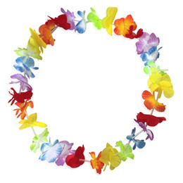 Wholesale hawaii wreath - Fashion Hot Party Supplies Silk Hawaiian Flower Lei Garland Hawaii Wreath Cheerleading Products Hawaii Necklace