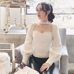 Wholesale Sexy Pearl Blouse - Sexy Women's Shirt 2017 Autumn Vintage Royal Backless Lantern long Sleeve Tweed Blouse Pearls Beading Blusa Femal Tops