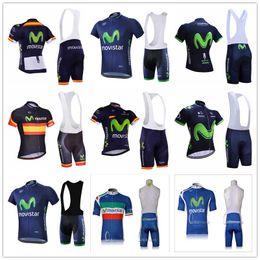 2019 fahrradschlauch Movistar Radtrikots Short Sleeves gesetzt Breathable Anti UV Fahrradkleidung Quick Dry Fahrrad Sportswear 9D Gel Pad Radfahren Bib Hose Ropa günstig fahrradschlauch