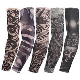 Wholesale Fake Tattoo Arm Sleeve - Fashio Elastic Tattoo Sleeves Riding UV Care Cool Printed Sun-proof Arm Protection Glove Fake Temporary Tattoo