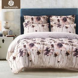 Wholesale Black Flower Comforter - Naturelife Duvet Cover Set Cotton Flower printed bedsheet pillowcase Comforter Cover bed set quilt bedlinen Bedclothes