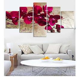 Orchideen blumen gemälde online-5 Stück Leinwanddruck Wandmalereien für Zuhause Blume Red Moth Orchidee Wandkunst Bild Moderne Modulare Bild Ungerahmt FA498
