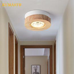 Wholesale wood ceiling lighting fixtures - Nordic Aisle LED Wood Ceiling Lamp Creative Minimalist Wood Cloakroom Corridor Stairs Round Square Ceiling Light Fixture