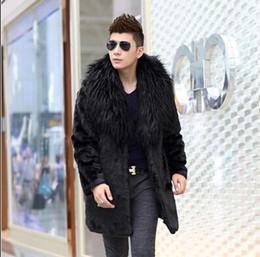 2019 casaco de pele de vison Outono falso vison jaqueta de couro mens inverno engrossar casaco de couro de pele quente homens jaquetas finas jaqueta de couro gola de pele grande preto casaco de pele de vison barato