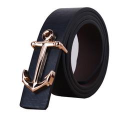 Wholesale Wholesale Designer Mens Belts - Free Shipping 2017 New Designer Fashion Male Black White Anchor Belts For Mens Gifts