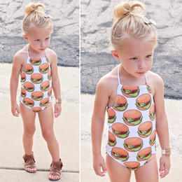 Wholesale Child Pink Swimsuit - European and American children and girls' food printing pat neck swimsuit suit and children's suit