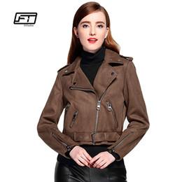 Wholesale Gray Suede Jacket - Fitaylor Women Faux Suede Jacket Slim Punk Leather Jacket Woman Bikers Pink Leather Moto Autumn Outwear