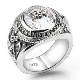2020 925 sterling silber schädel ring 2018 neue 925 Sterling Silber Vintage Skeleton Schädel Männer Ring klar CZ Porträt Meditation Biker Männer Modeschmuck hohe Qualität günstig 925 sterling silber schädel ring