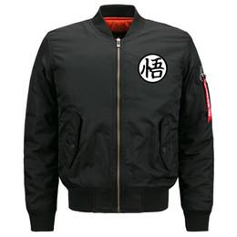 Wholesale dragon ball jacket - New Fashion Trend Mens Jacket Mens Flight Suit Mens Windbreaker Dragon Ball Casual Sport Zipper Long Sleeve Stand Collar S-8XL