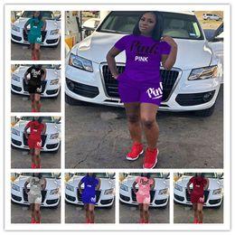 Wholesale Girls Blue Pants - 2018 summer PINK Letter shorts suit 2pcs set short sleeve T-shirt+ Shorts pants love pink Outfits Tracksuit Set track Suit Sportswear hot