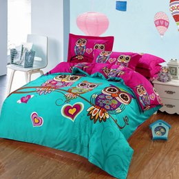 Wholesale Kids Christmas Bedding Sets - Wholesale- 4 3 Pcs 100%Cotton Kids Owl Cartoon 3d Bedding set King Full Queen Bed Linen Bed Sheet Duvet Cover Pillow covers For Christmas