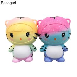 Wholesale prop 14 - Besegad 12CM PU Jumbo Big Cute Kawaii Soft Tiger Cat Squishy Squeeze Squishi Toy Slow Rising for Relieves Stress Anxiety Props